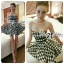 DR-LR-132 Lady Nicole Sexy Glam Strapless Houndstooth Dress thumbnail 4
