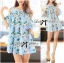 Lady Margaret Sweet Sexy Cut-Out Flower Printed Blue Dress thumbnail 4