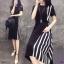 Dress แขนสัน้ สีพื้นดำ งานผ้าโฟร์เวย์ ดีเทลตัดต่อด้านข้าง thumbnail 2