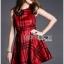 Lady Cris British Elegant Check Printed Beige Dress L196-85C07 thumbnail 2