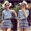 Lady Ashley Tribal Chic Denim Shirt and Printed Skirt Set L180-79C12 thumbnail 1