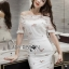 Lady Camille Off-Shoulder Embroidered Lace Body-Con Dress L259-8506 thumbnail 5