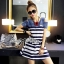 Lady Rita Casual Style Cut-Out Denim Striped Dress L213-65C05 thumbnail 2