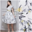 Daisy grey flower white satin dress with belt thumbnail 4