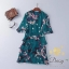 Daisy chiffon silk flower pleat green dress thumbnail 9