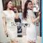 Lady Joanne Classy Elegant White Lace Dress with White Leather Belt L260-7907 thumbnail 1