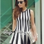 DR-LR-206 Lady Carissa Sleeveless Striped Knit Dress in Black and White thumbnail 4