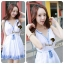 DR-LR-121 Chicly Cami White Dress Blue Retro Embroider Style thumbnail 5