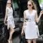 Lady Lucy Minimal Chic Metal Loop Ribbon White Dress L275-7917 thumbnail 2