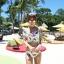 SM-V1-425 ชุดว่ายน้ำ เสื้อแขนสั้น+กางเกงบิกินี่ ลายขนนกสวย สีสันสดใส thumbnail 12