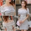 DR-LR-122 Lady Cherline Smart Casual Striped Lace Dress thumbnail 9