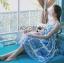 Dolce & Gabbana Italian White & Blue Printed Button-Down Dress L241-69B02 thumbnail 8
