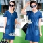 Korean lady love denim jeans short sleeve dress by Aris Code A181-75C01 thumbnail 1