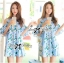 Lady Margaret Sweet Sexy Cut-Out Flower Printed Blue Dress thumbnail 3