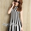 DR-LR-206 Lady Carissa Sleeveless Striped Knit Dress in Black and White thumbnail 2
