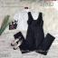 เซ็ต 2 ชิ้น เอี้ยมขายาวสีดำทรงสวยมีกระเป๋าหน้างานผ้าซาร่าเนื้อนิ่มเงาสวย thumbnail 2