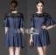 Lady Stella Smart Casual Black Lace and Denim Dress L255-79C12 thumbnail 7
