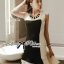 DR-LR-156 Lady Rachel Minimal Chic Ruffle Dress in Black and White thumbnail 9