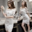 Lady Camille Off-Shoulder Embroidered Lace Body-Con Dress L259-8506 thumbnail 3