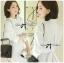 Lady Emily Basic Striped Shirt Dress in White thumbnail 1