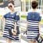 DR-LR-287 Lady Rita Casual Style Cut-Out Denim Striped Dress thumbnail 8