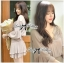 DR-LR-267 Lady Jane Classic Glam Smock Chiffon Dress in Beige thumbnail 7