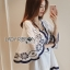 Lady Rachel Summery Classic Dark Blue and White Embroidered Dress L271-6904 thumbnail 3
