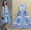 Dolce & Gabbana Italian White & Blue Printed Button-Down Dress L241-69B02 thumbnail 13