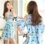 Lady Margaret Sweet Sexy Cut-Out Flower Printed Blue Dress thumbnail 7