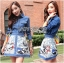 Lady Courtney Denim Jacket and Floral Graphic Printed Skirt Ensemble Set L188-75C05 thumbnail 3