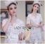Lady Joanne Classy Elegant White Lace Dress with White Leather Belt L260-7907 thumbnail 10