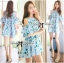 Lady Margaret Sweet Sexy Cut-Out Flower Printed Blue Dress thumbnail 1