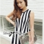 DR-LR-206 Lady Carissa Sleeveless Striped Knit Dress in Black and White thumbnail 7