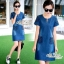 Korean lady love denim jeans short sleeve dress by Aris Code A181-75C01 thumbnail 8