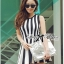 DR-LR-206 Lady Carissa Sleeveless Striped Knit Dress in Black and White thumbnail 6