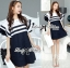 DR-LR-155 Lady Natasha Striped Dress in Navy Style thumbnail 2