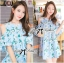 Lady Margaret Sweet Sexy Cut-Out Flower Printed Blue Dress thumbnail 2