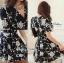 DR-LR-216 Lady Stella Femme Fatale Rose Print Dress thumbnail 9
