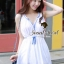 DR-LR-121 Chicly Cami White Dress Blue Retro Embroider Style thumbnail 1