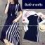 Dress แขนสัน้ สีพื้นดำ งานผ้าโฟร์เวย์ ดีเทลตัดต่อด้านข้าง thumbnail 4