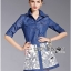 Lady Courtney Denim Jacket and Floral Graphic Printed Skirt Ensemble Set L188-75C05 thumbnail 14