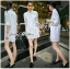 DR-LR-225 Lady Vanessa Classic Insert Lace Shirt Dress in White thumbnail 14