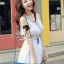 DR-LR-121 Chicly Cami White Dress Blue Retro Embroider Style thumbnail 2