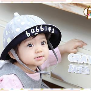 HT460••หมวกเด็ก•• / หมวกปีกกว้าง-bubbles (สีเทา)