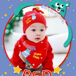 AP139••เซตหมวก+ผ้ากันเปื้อน•• / [สีแดง] Catch the Star
