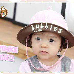 HT461••หมวกเด็ก•• / หมวกปีกกว้าง-bubbles (สีชมพูอ่อน)