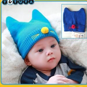 HT263••หมวกเด็ก•• / แมวเหมียว [สีน้ำเงิน]