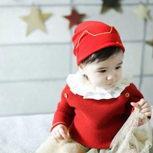 HT432••หมวกเด็ก•• / หมวกบีนนี่-หูแมว (สีแดง)