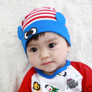 HT435••หมวกเด็ก•• / หมวกบีนนี่-ดวงตา (สีแดง/ขอบฟ้า)