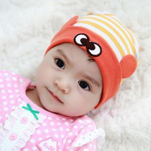 HT439••หมวกเด็ก•• / หมวกบีนนี่-ดวงตา (สีเหลือง/ขอบส้ม)